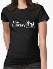 The Library Logo in White Womens Fitted T-Shirt