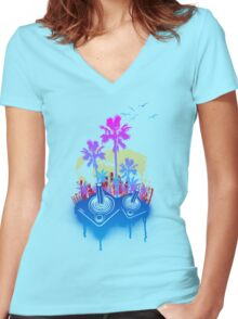 Arcade Paradise Women's Fitted V-Neck T-Shirt
