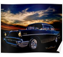 57 Belair Two-Door Sedan is Oh So Black Poster