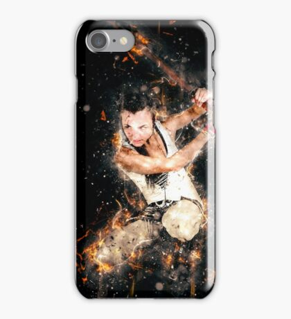 young punk teen girl wielding a flaming sword  iPhone Case/Skin