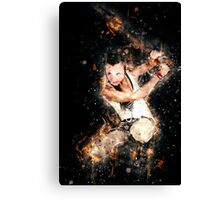 young punk teen girl wielding a flaming sword  Canvas Print