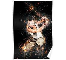 young punk teen girl wielding a flaming sword  Poster