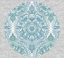 Turquoise Blue, Teal & White Protea Doodle Pattern One Piece - Short Sleeve