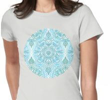Turquoise Blue, Teal & White Protea Doodle Pattern Womens Fitted T-Shirt