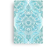 Turquoise Blue, Teal & White Protea Doodle Pattern Canvas Print