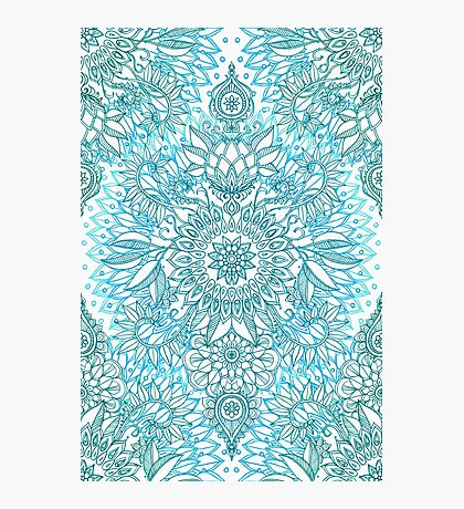 Turquoise Blue, Teal & White Protea Doodle Pattern Photographic Print