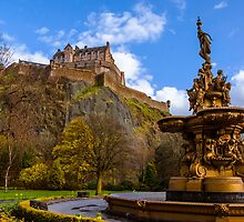 Ross Fountain in front of Edinburgh Castle by Graeme  Ross