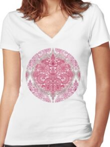Happy Place Doodle in Berry Pink, Cream & Mauve Women's Fitted V-Neck T-Shirt