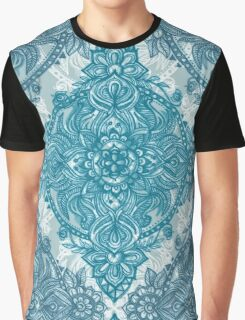 Teal & White Lace Pencil Doodle Graphic T-Shirt