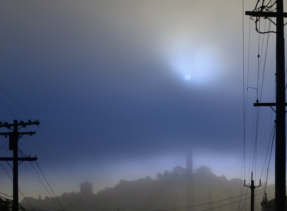 Coit Tower in the morning Fog  by David Denny