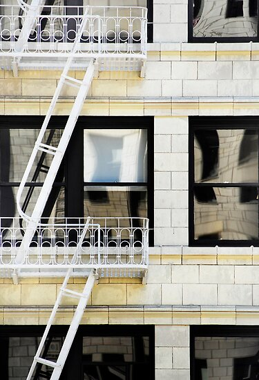 Reflection with Fire Escape by luvdusty