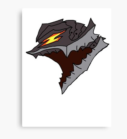 Berserk Armor Helmet - Black Outlines  Canvas Print