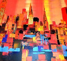 Manhattan Cityscape Skyline Piainting 0191 by Eraclis Aristidou