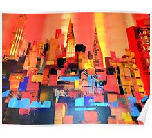 Manhattan Cityscape Skyline Piainting 0191 Poster