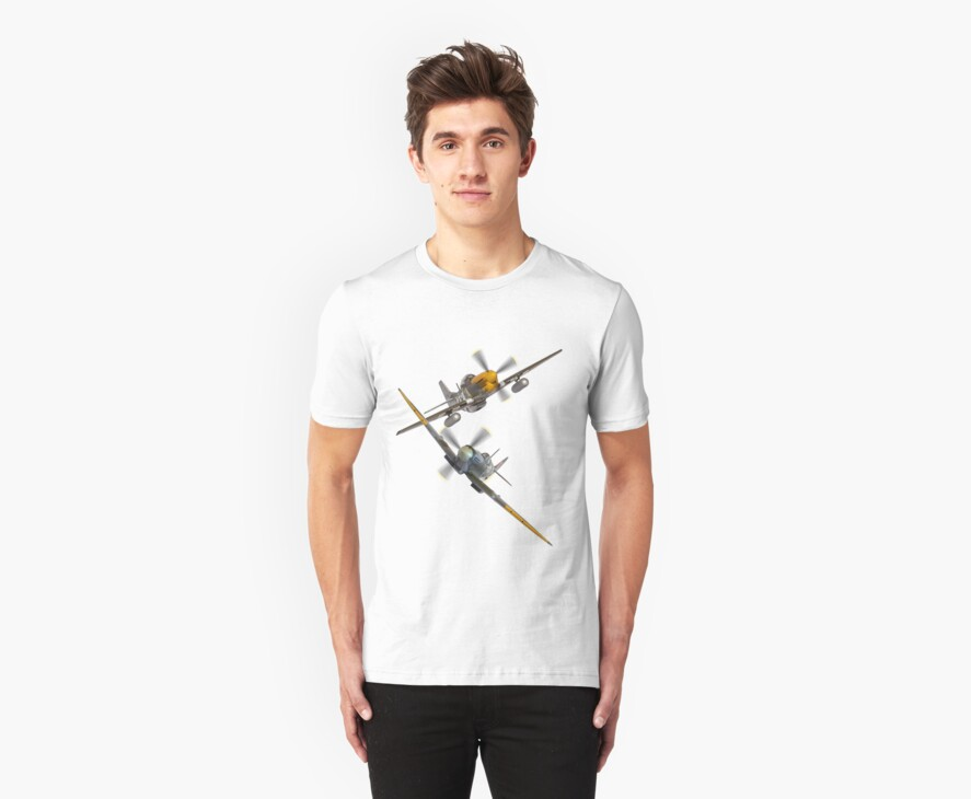 P51 Mustang And Spitfire Tee Shirt by Colin  Williams Photography
