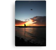 Currumbin Sunset With Jet Liner Canvas Print