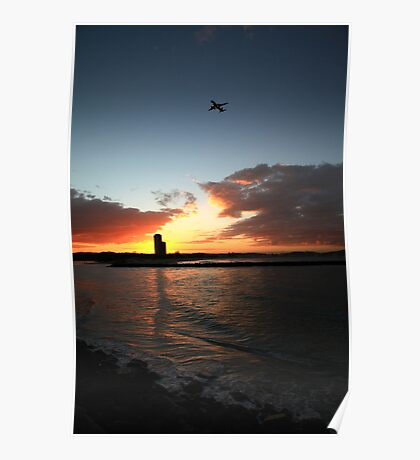 Currumbin Sunset With Jet Liner Poster