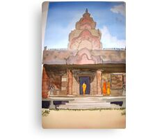 Monks at  Phnom Rung Khmer temple, Thailand Canvas Print