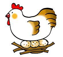 cute chicken and eggs by CuteCartoon