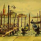 Venice Gondolas, Watercolor Study  by Caroline  Hajjar Duggan