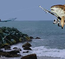 <º))))><FISH GONE FISHING PICTURE/CARD AW LOOKY THERE HE'S GOT A BITE<º))))><           by ✿✿ Bonita ✿✿ ђєℓℓσ