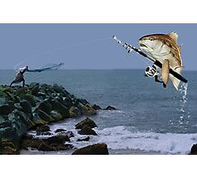 <º))))><FISH GONE FISHING PICTURE/CARD AW LOOKY THERE HE'S GOT A BITE<º))))><           Photographic Print