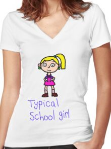 Typical school girl Women's Fitted V-Neck T-Shirt
