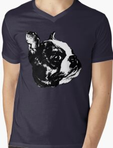 """Garbo"" Boston Terrier Graphic ~ black and white Mens V-Neck T-Shirt"