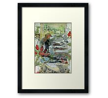 Birds on a Beach with Lovers, Eggs, and Flowers Framed Print
