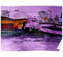 The run away truck of distruction, watercolor Poster