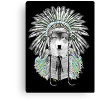 Indian chief wolf  Canvas Print