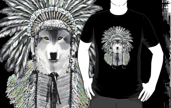 Indian chief wolf  by Tia Knight