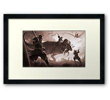 T. rex vs. Samurai Framed Print