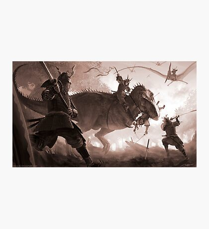 T. rex vs. Samurai Photographic Print