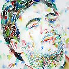 JOHN BELUSHI smoking cigarette - watercolor portrait by lautir