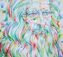 LEONARDO DA VINCI - watercolor portrait by lautir