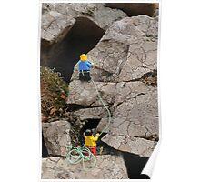 Lego Men Climbing on Lichen Encrusted Rocks Poster