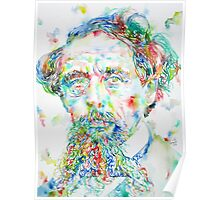 CHARLES DICKENS - watercolor portrait Poster