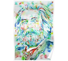 WALT WHITMAN / watercolor portrait.3 Poster