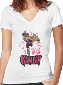 Gambit Superheroes T-Shirt Women's Fitted V-Neck T-Shirt