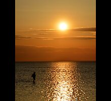 Man Walking Along Coast Of Long Island Sound - Stony Brook, New York by © Sophie W. Smith