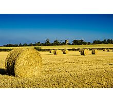Cylindrical Hay Bales England Photographic Print