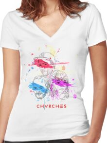 CHVRCHES ILLUSTRATION Women's Fitted V-Neck T-Shirt