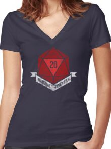Natural 20's (RED) Women's Fitted V-Neck T-Shirt
