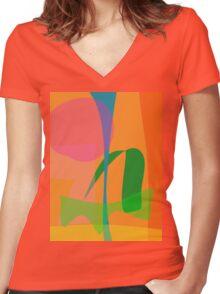 Corn Field Sundown Women's Fitted V-Neck T-Shirt