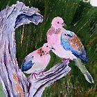 Two laughing doves (in oil)  by Elizabeth Kendall