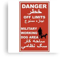Danger Off Limits Sign, Afghanistan Canvas Print