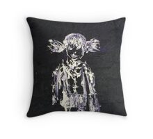 LITTLE SCHOOL GIRL with SCHOOLBAG Throw Pillow