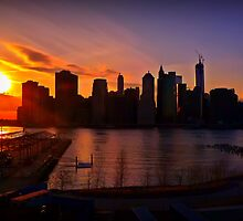 New York City Skyline Sunset from Brooklyn Heights Promenade by Mitchell Grosky