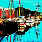 THREE BOATS -PORT ADELAIDE by JAMES LEVETT
